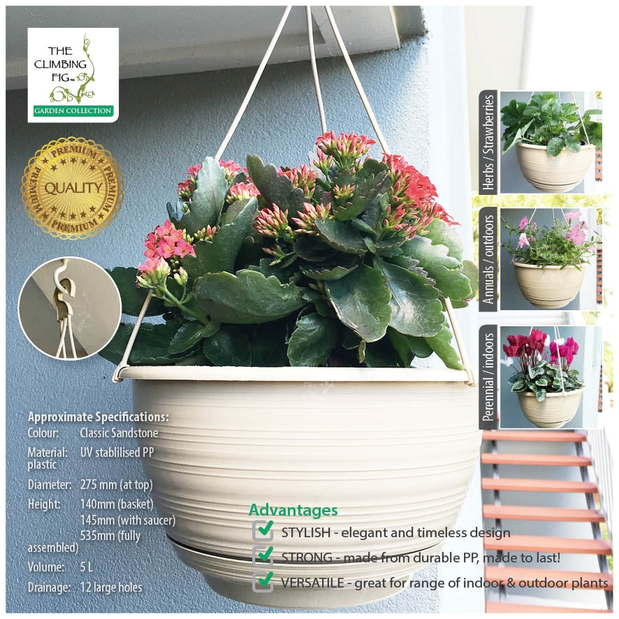 275mm Round Plastic Hanging Baskets CLASSIC SANDSTONE with Pots Saucers Hangers