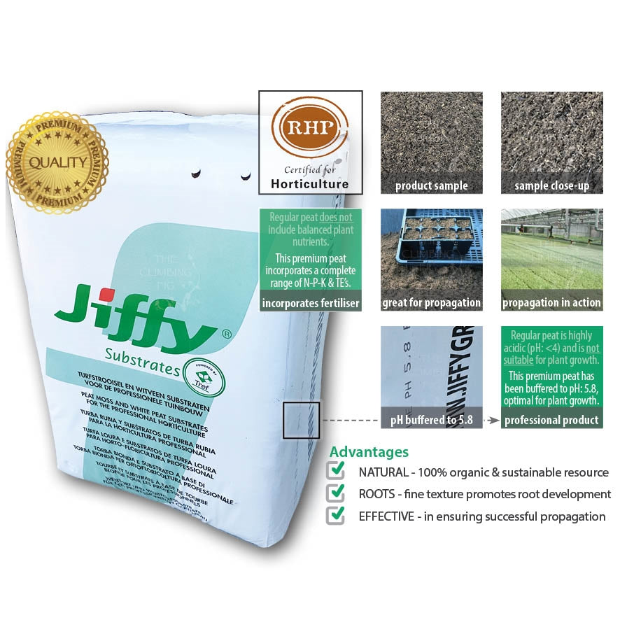 Jiffy Premium Fine Peat Moss Substrate. Nursery grade potting mix seed starting