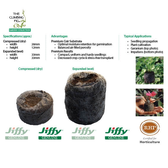 30mm Jiffy-7 Coir Pellets. Ideal for seed sowing and cutting propagation