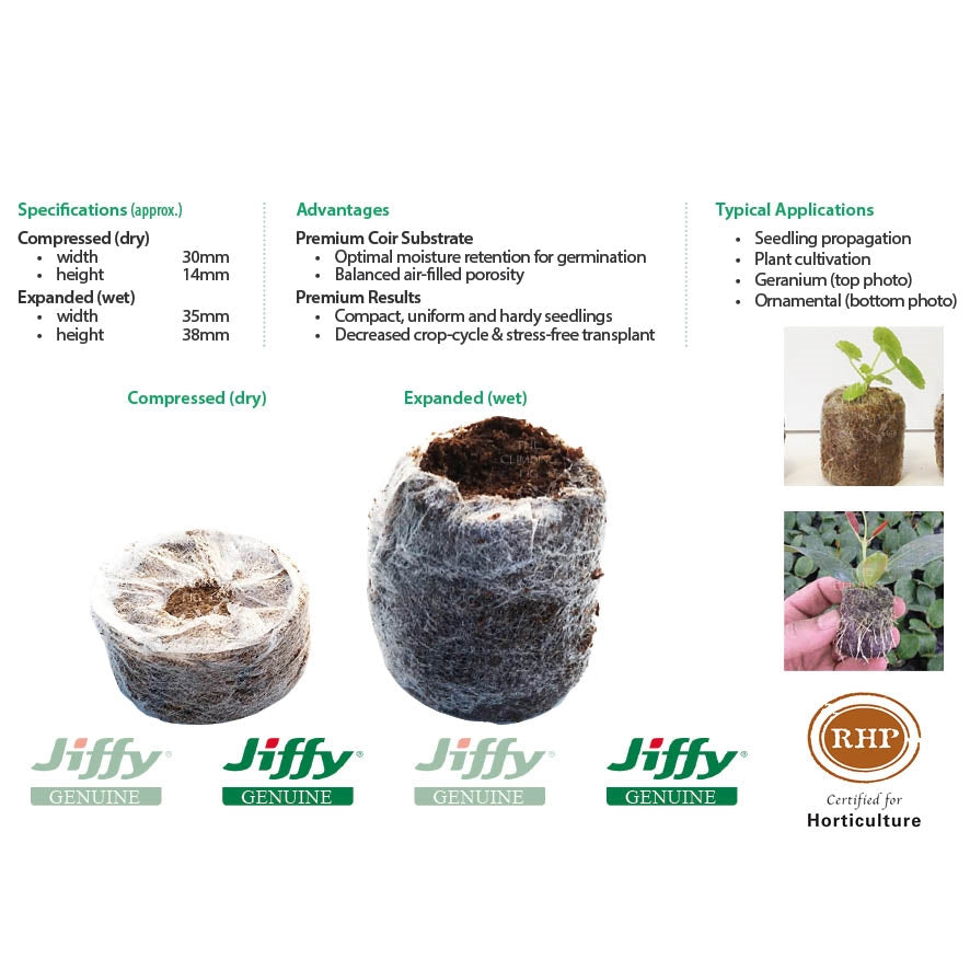35mm Jiffy-7 Coir Pellets. Ideal for seed sowing and cutting propagation