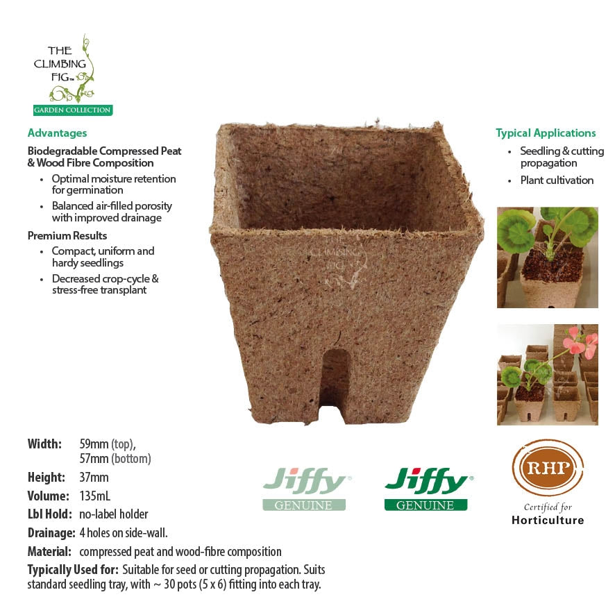 60mm Square Jiffy Pots
