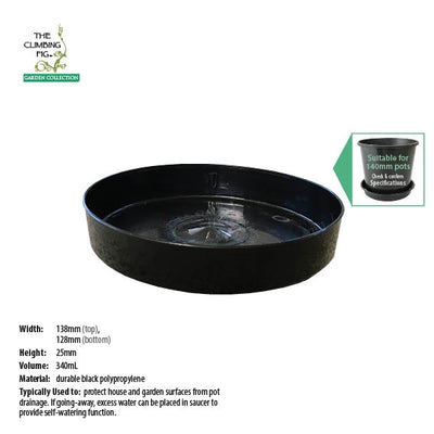 140mm Round Black Plastic Saucers