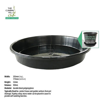 200mm Round Black Plastic Saucers