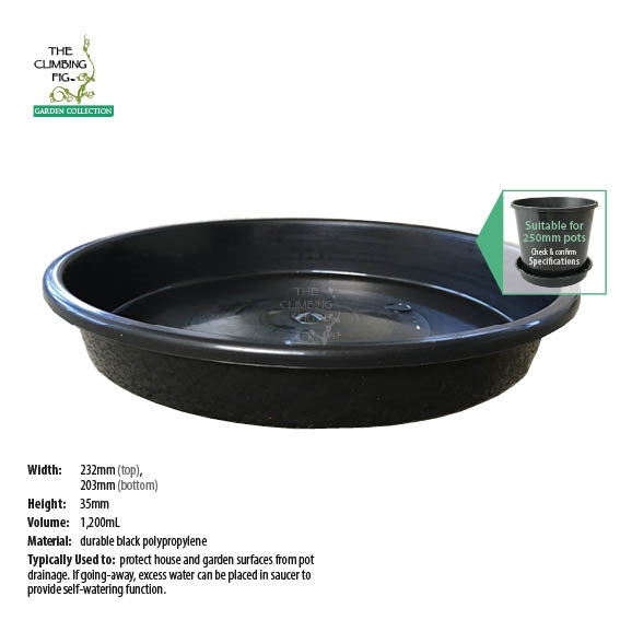 250mm Round Black Plastic Saucers