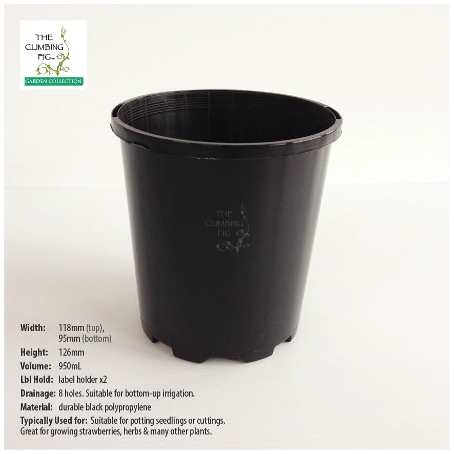 118mm Round Black Plastic Pots