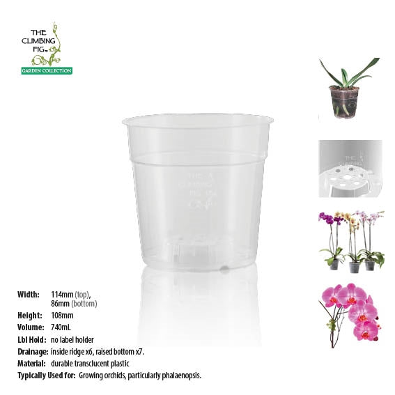 120mm Teku Round CLEAR Plastic Pots. Suits phalaenopsis & other orchid plants