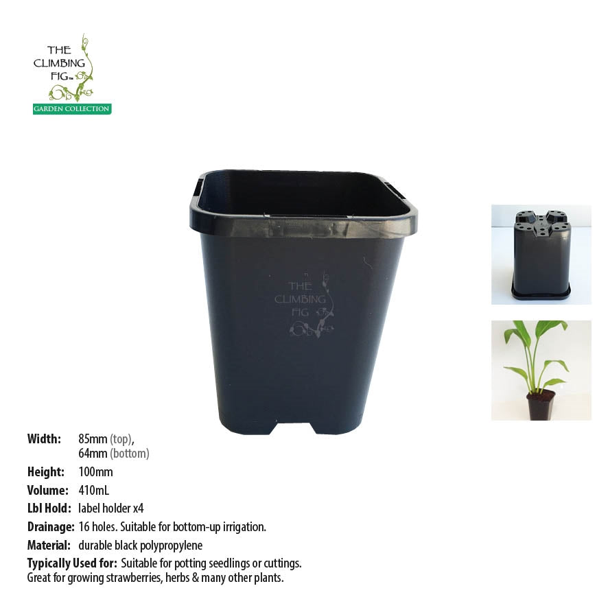 85mm Square Black Plastic Pots