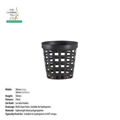 50mm Black Plastic Hydroponics Net Pot
