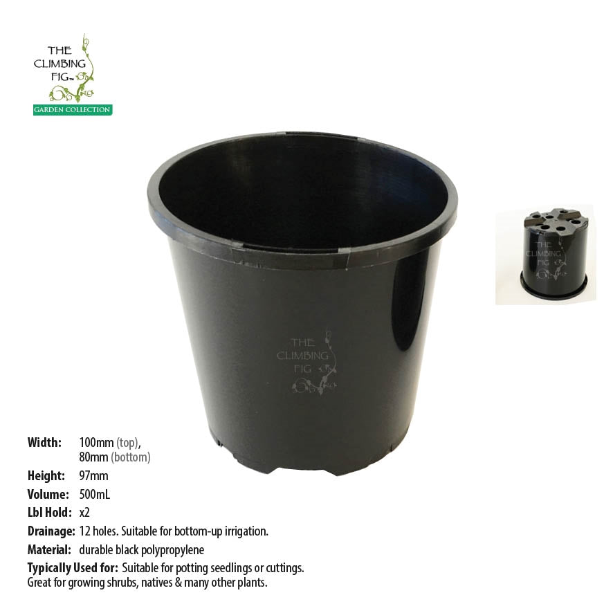 100mm Black Plastic Slimline Pots