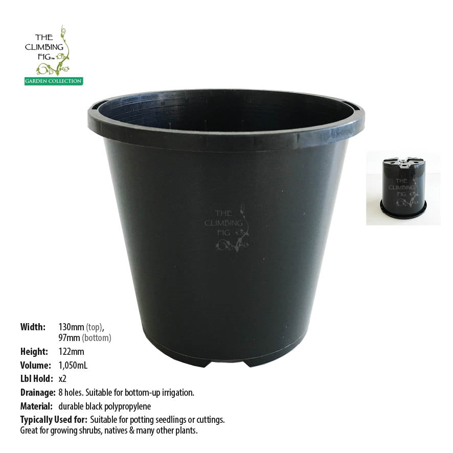 130mm Black Plastic Slimline Pots