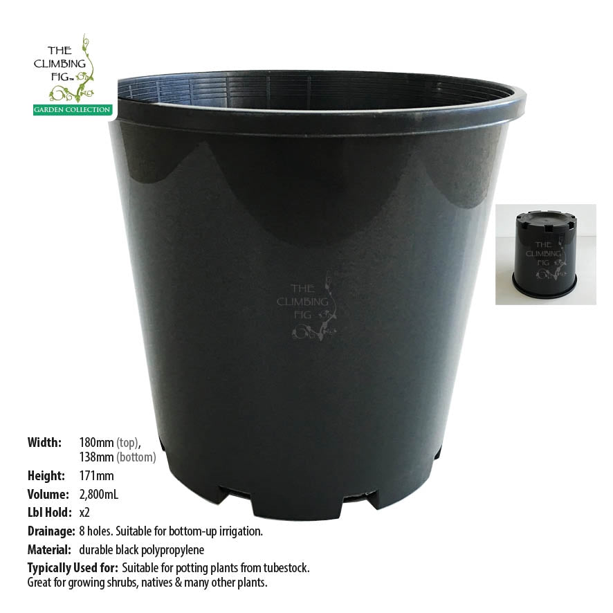 180mm Black Plastic Slimline Pots