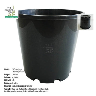 200mm Black Plastic Slimline Pots