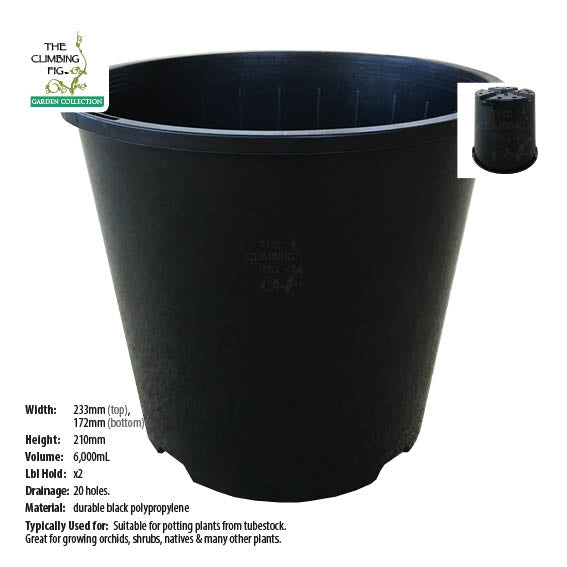 230mm Black Plastic Slimline Pots