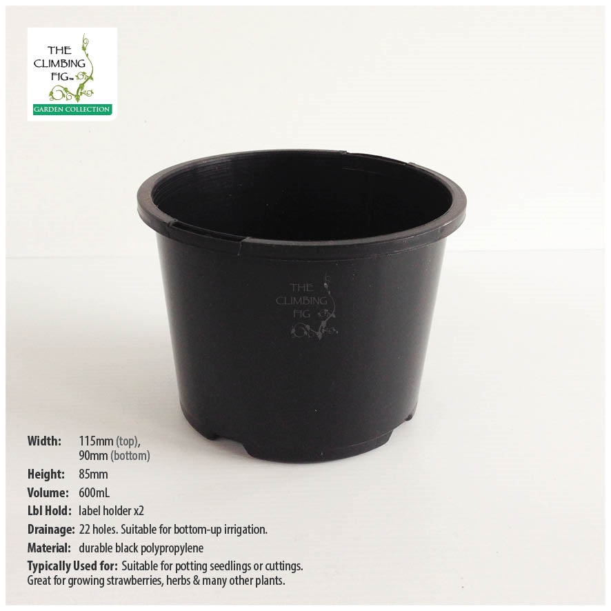 110mm Squat BLACK Plastic Pots. For potting seedlings, garden plants & shrubs