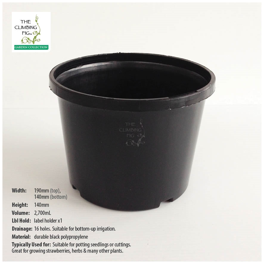 190mm Black Plastic Squat Pots