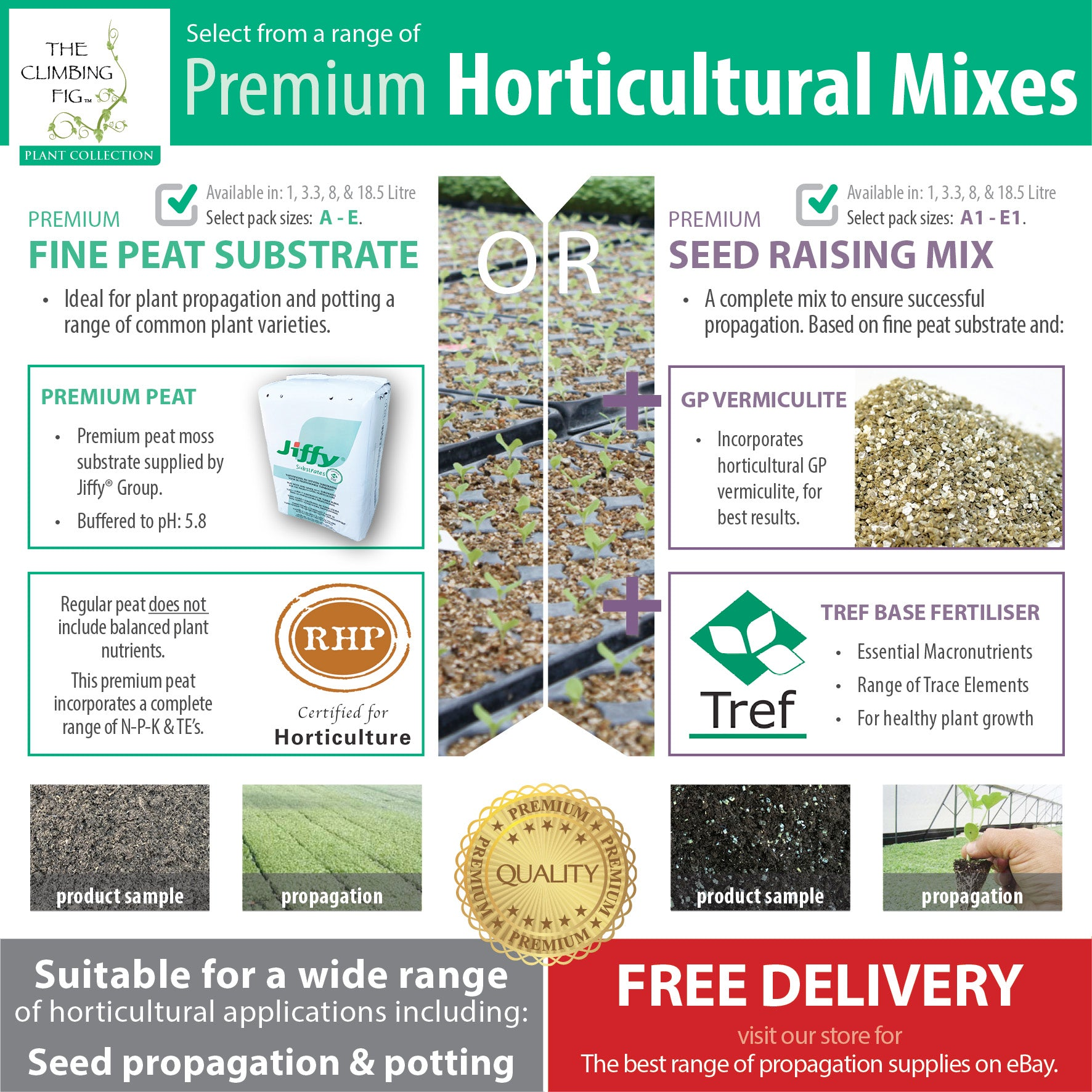 Propagation Mix Range - Fine Peat or Seed Raising Mix With Vermiculite