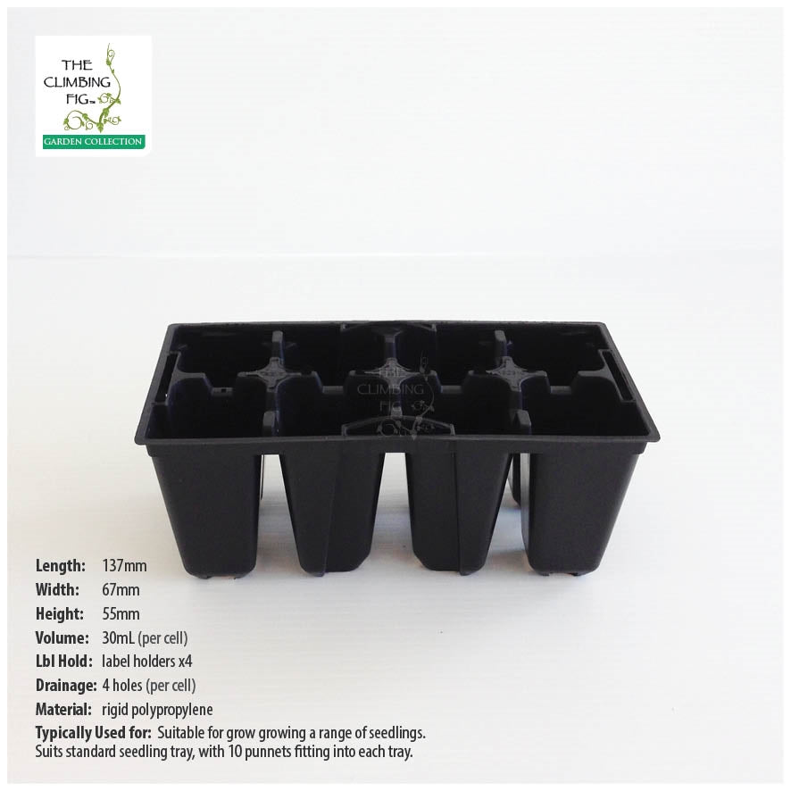 8-cell Rigid Plastic Seedling Punnets. Ideal for seeds and cutting propagation