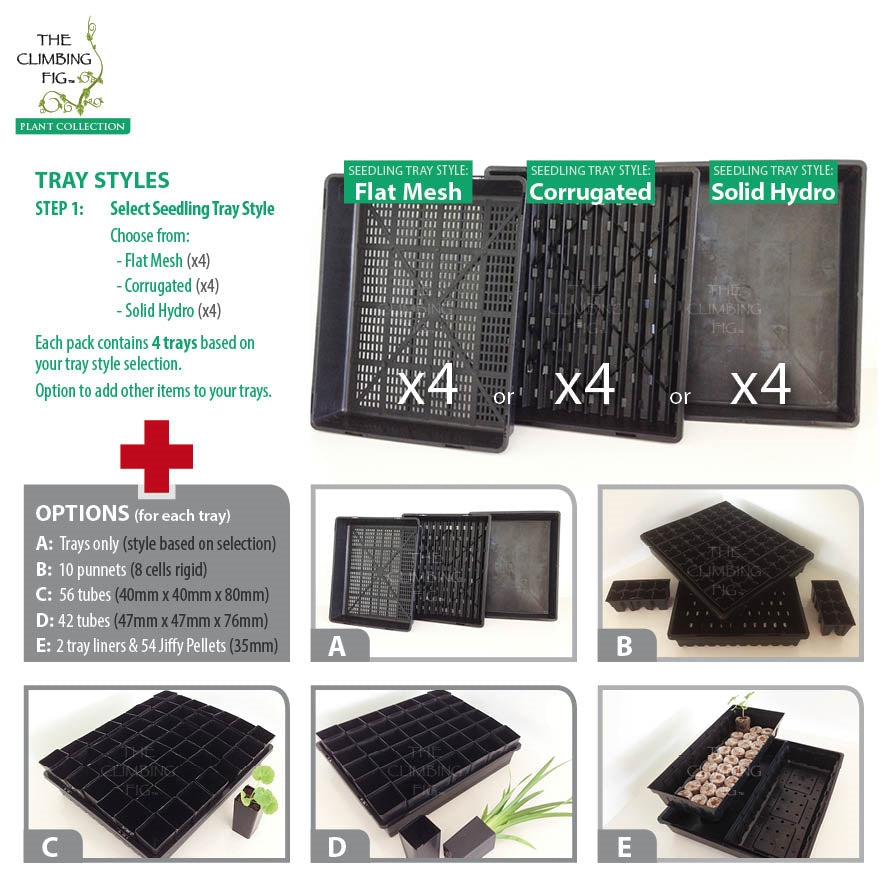 Seedling Propagation Trays with Punnet, Tube or Jiffy Pellet Options (4 x trays)