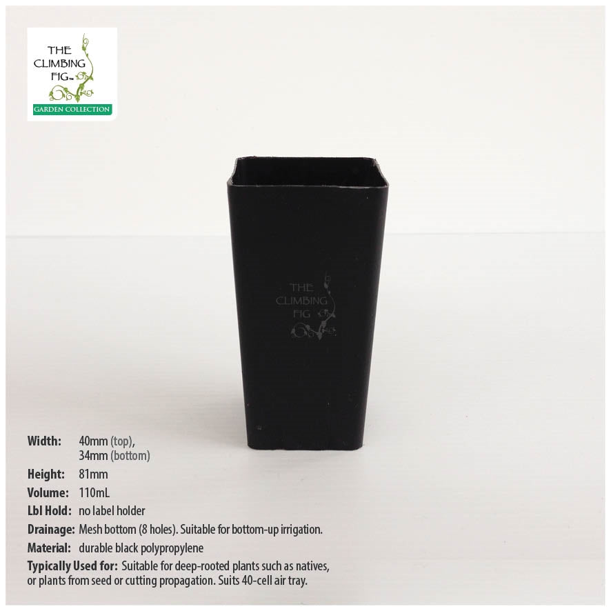 40mm Square Black Plastic Tube Pot