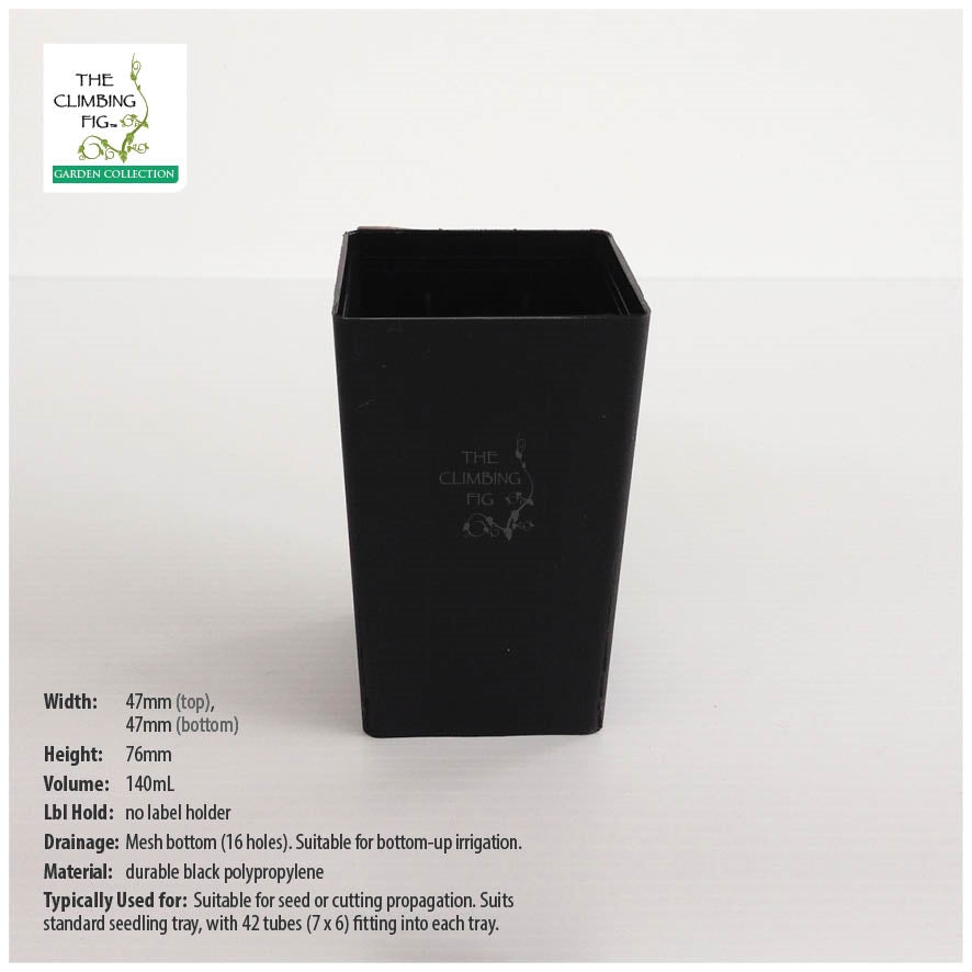 47mm Square Black Plastic Tube Pots
