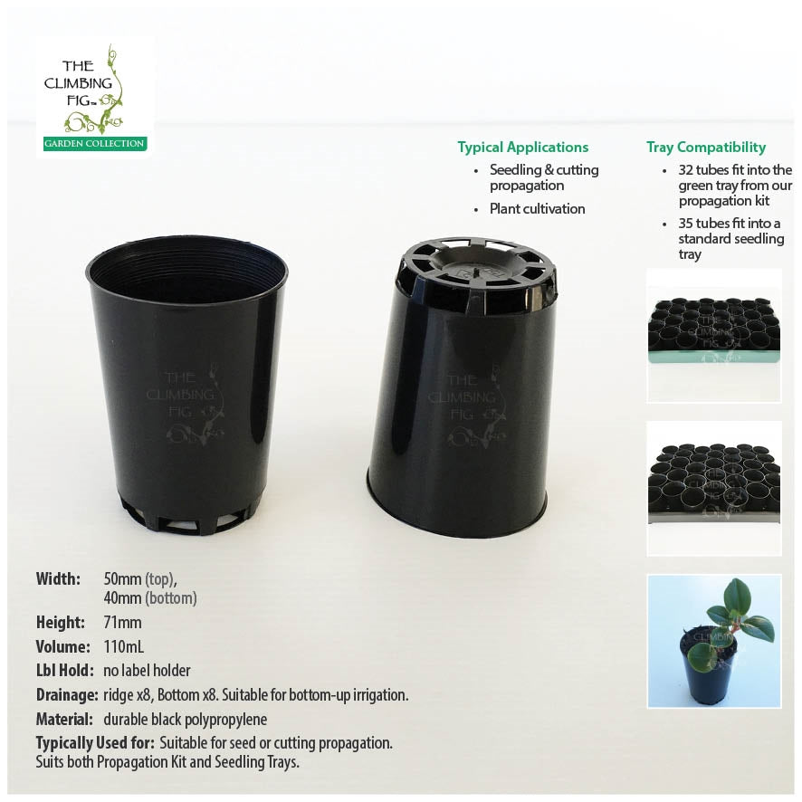 50mm Round BLACK Plastic Tube Pots. For seeds, seedlings, cuttings & propagation