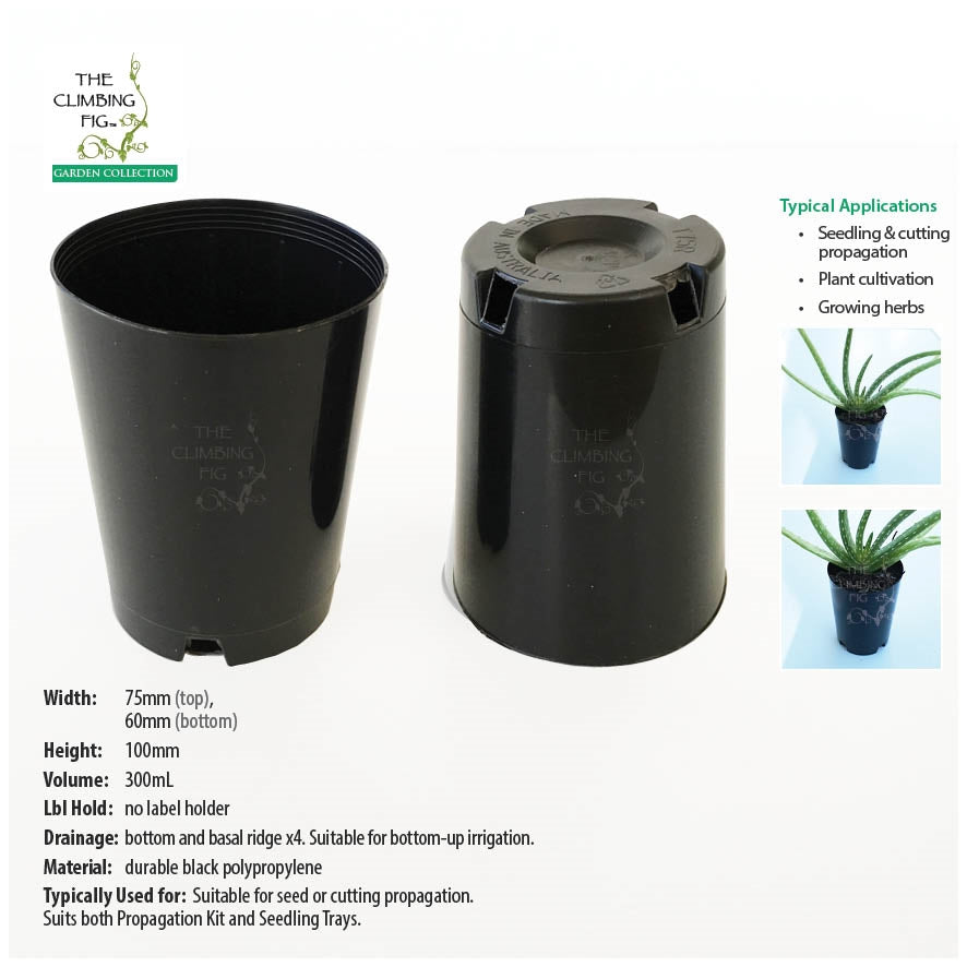 75mm Round Black Plastic Tube Pots