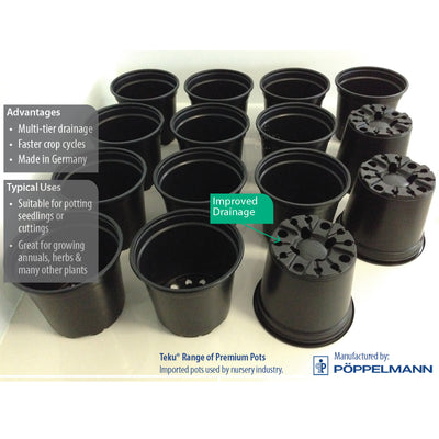 Teku BLACK Plastic Pots - 100mm, 120mm, 130mm, 150mm. Pot seedlings herbs plants
