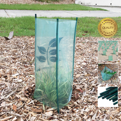 Tree Guards with/without Bamboo Stakes. For landscape plant garden revegetation