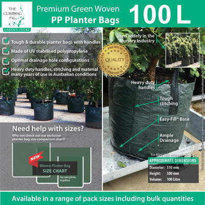 100 Litre WOVEN Planter Bags w Easy Fill Round Base. Grow trees, plants, vegies