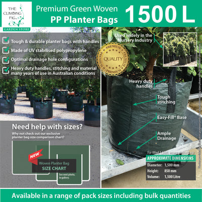 1,500 Litre WOVEN Planter Bags w Easy Fill Round Base. Grow palm, advanced trees