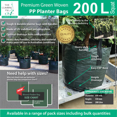 200 Litre Squat WOVEN Planter Bags w Easy Fill Round Base. Grow trees, plants