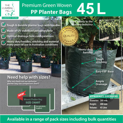 45 Litre WOVEN Planter Bags w Easy Fill Round Base. Grow trees, plants, shrubs
