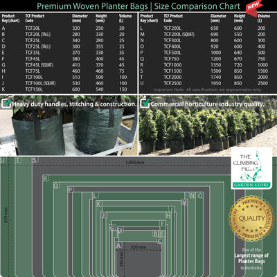 Woven planter bags size chart
