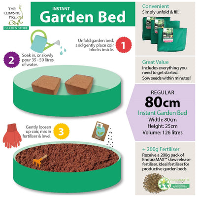 Instant Raised Garden Bed (Regular 80cm, 126L) with x2 Coir Blocks & Fertiliser