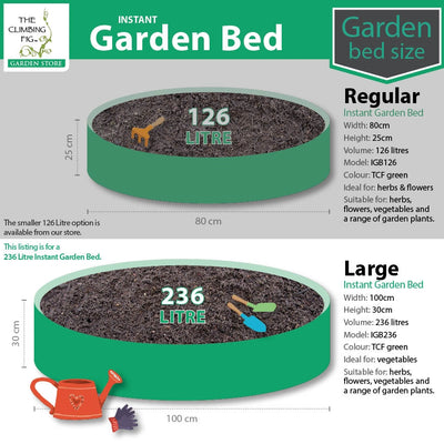 Instant Raised Garden Bed LARGE 100cm, 236 Litres. For flowers herbs vegetables