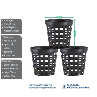 50mm Black Plastic Net Pots for Hydroponics, Orchids & Aquariums. For plants