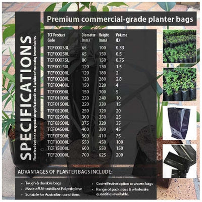 2 Litre PREMIUM Poly Black Planter Bags. Grow herbs, plants, shrubs & trees