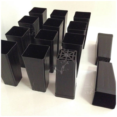 50mm Native Square BLACK Plastic Tube Pots, DEEP Tubestock. Forestry propagation