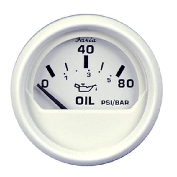 Faria Dress White 2 Oil Pressure Gauge - 80 Psi