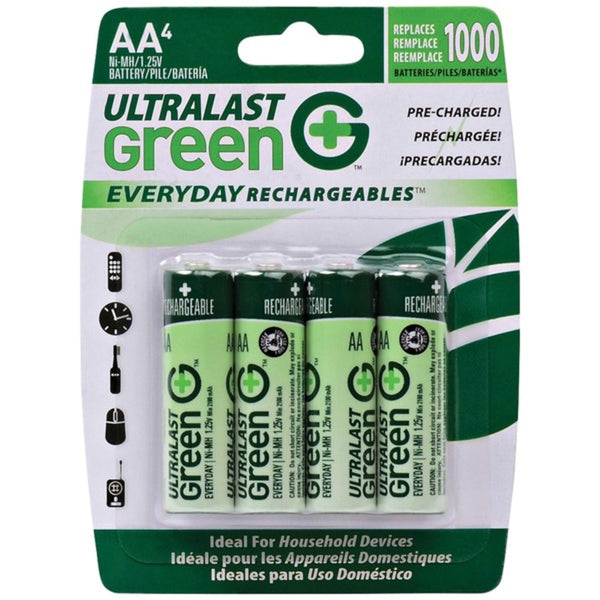 Ultralast Ulged4aa Green Everyday Rechargeables Aa Nimh Batteries, 4 Pk