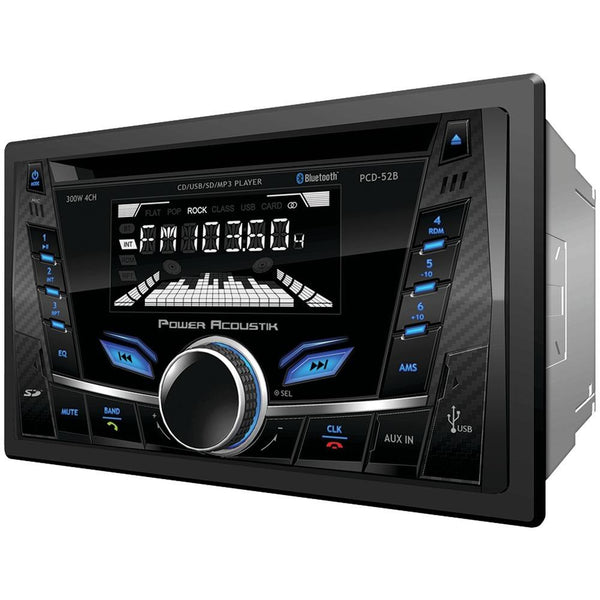 Power Acoustik Pcd-52b Double-din In-dash Cd-mp3 Am-fm Receiver With Bluetooth