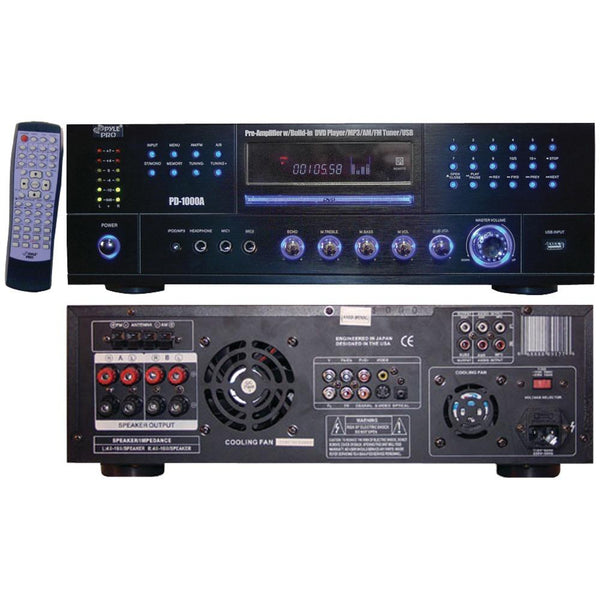 Pyle Home Pd1000a 1,000-watt Am-fm Receiver With Built-in Dvd Player
