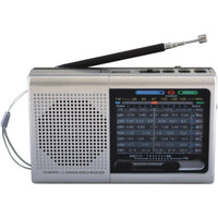 Supersonic Sc-1080bt- Slv 9-band Rechargeable Bluetooth Radio With Usb-sd Card Input (silver)