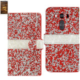 Reiko Lg V10 Diamond Rhinestone Wallet Case In Red
