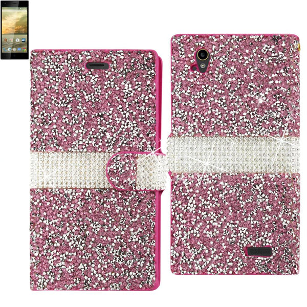 Reiko Zte Warp Elite Diamond Rhinestone Wallet Case In Pink