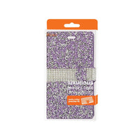 Reiko Zte Warp Elite Diamond Rhinestone Wallet Case In Purple