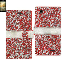 Reiko Zte Warp Elite Diamond Rhinestone Wallet Case In Red
