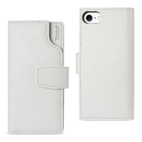 Reiko Iphone 8- 7  Genuine Leather Wallet Case With Open Thumb Cut In Ivory