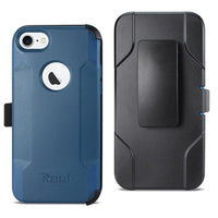 Reiko Iphone 8 3-in-1 Hybrid Heavy Duty Holster Combo Case In Navy