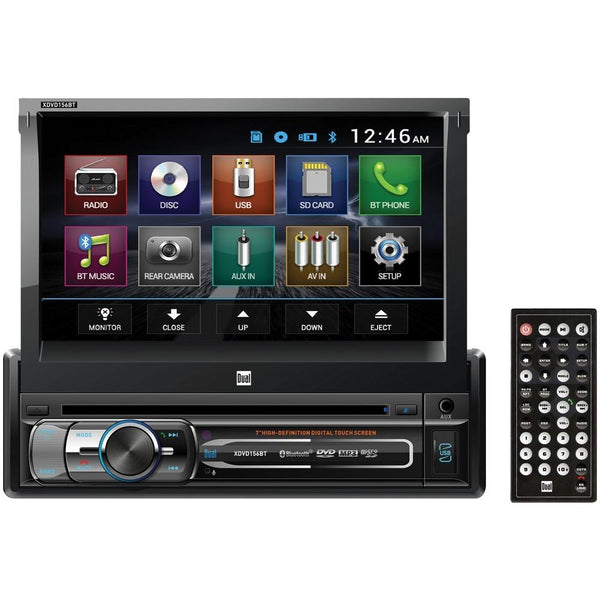 "Dual 7"" Single-din In-dash Dvd Receiver With Bluetooth & Motorized Touchscreen Dulxdvd156bt"